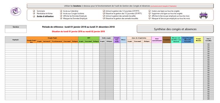 Excel L Outil De Gestion Des Conges Et Absences Juin A Mai