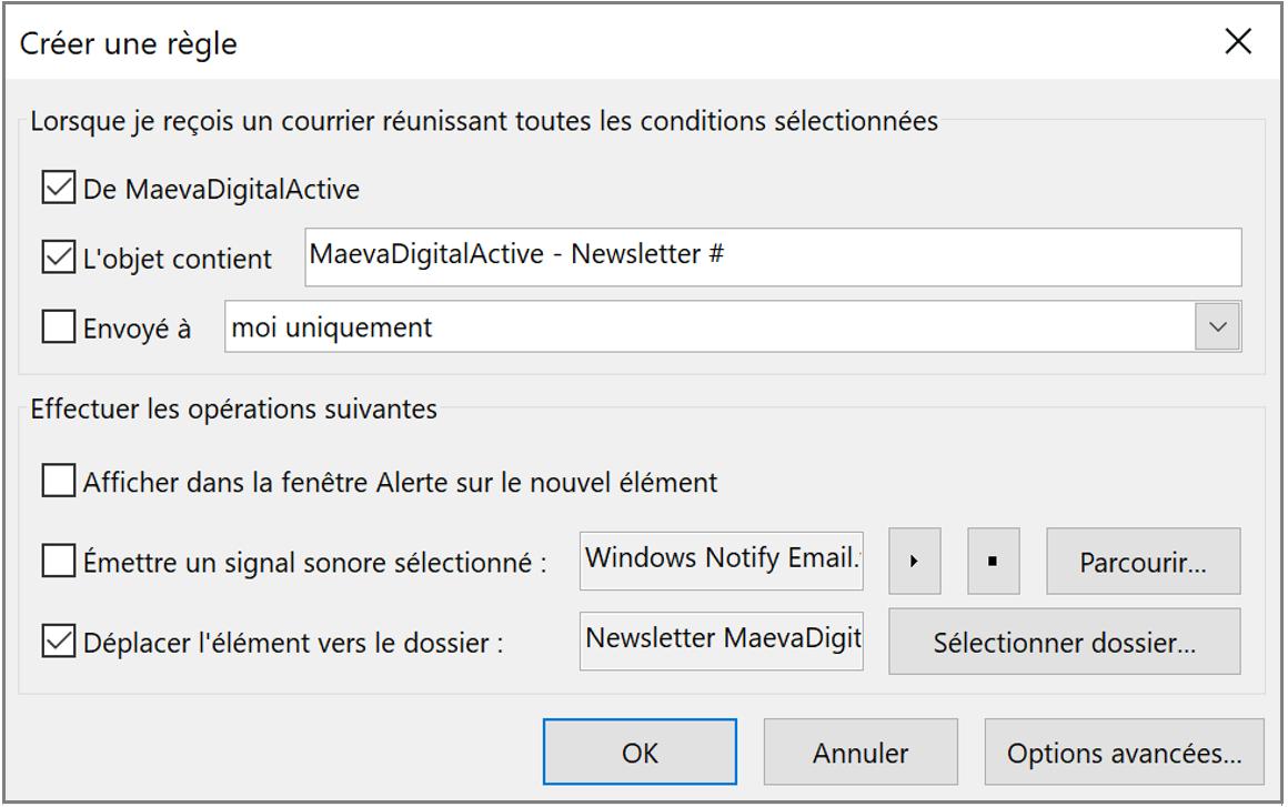 Créer une règle d'actions automatiques de mails dans Outlook