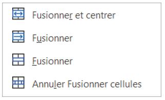 Les différentes options pour Fusionner et Fractionner des cellules adjacentes dans Excel