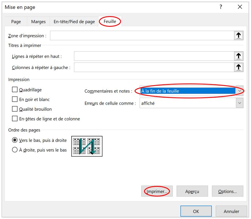 Imprimer des commentaires et des notes dans Excel d'Office 365