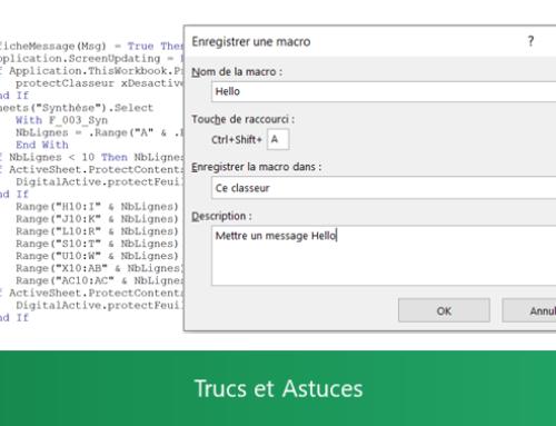 Excel – Enregistrer une macro sans notion VBA